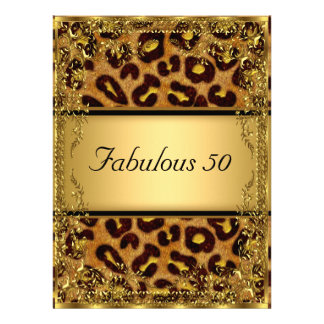 Leopard  and Gold Fabulous at 50 Birthday Party Personalized Announcement