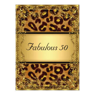 Leopard  and Gold Fabulous at 50 Birthday Party 6.5x8.75 Paper Invitation Card