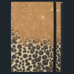 """Leopard and Gold Faux Glitter Brushstrokes iPad Pro 12.9&quot; Case<br><div class=""""desc"""">This cool and trendy leopard print with gold faux glitter brush stroke is perfect for the glamorous and glitzy lady.</div>"""