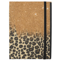 """Leopard and Gold Faux Glitter Brushstrokes iPad Pro 12.9"""" Case"""