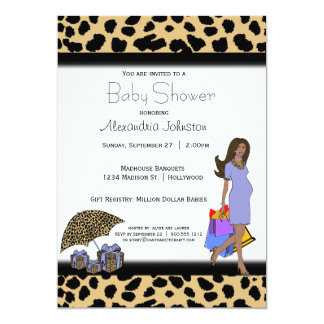 Leopard And Lilac Print African American Mommy 5x7 Paper Invitation Card