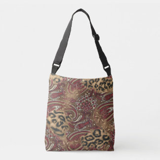 Leopard and Paisley Pattern Print Crossbody Bag