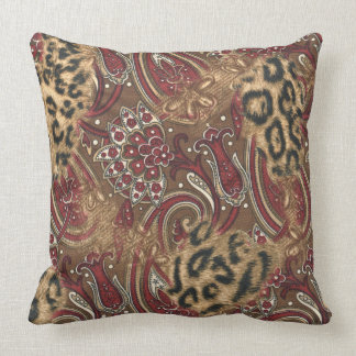 Leopard and Paisley Pattern Print Throw Pillow