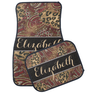 Leopard and Paisley Pattern Print to Personalize Car Floor Mat
