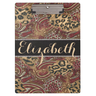 Leopard and Paisley Pattern Print to Personalize Clipboard