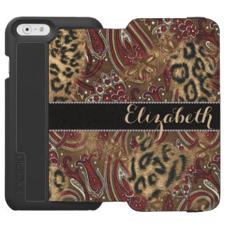 Leopard and Paisley Pattern Print to Personalize iPhone 6/6s Wallet Case