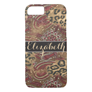 Leopard and Paisley Pattern Print to Personalize iPhone 7 Case