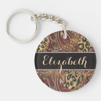 Leopard and Paisley Pattern Print to Personalize Keychain