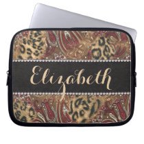 Leopard and Paisley Pattern Print to Personalize Laptop Sleeve