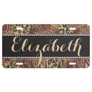 Leopard and Paisley Pattern Print to Personalize License Plate