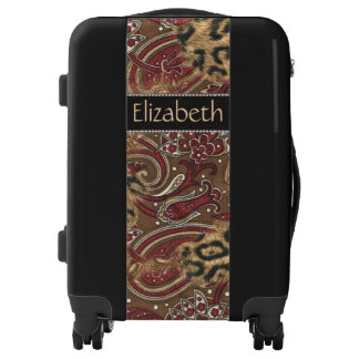 Leopard and Paisley Pattern Print to Personalize Luggage