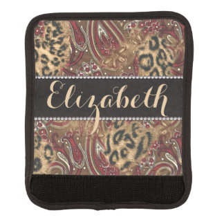 Leopard and Paisley Pattern Print to Personalize Luggage Handle Wrap