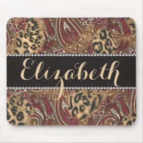 Leopard and Paisley Pattern Print to Personalize Mouse Pad