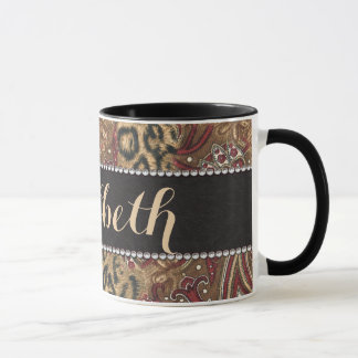 Leopard and Paisley Pattern Print to Personalize Mug