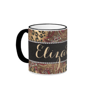 Leopard and Paisley Pattern Print to Personalize Mugs