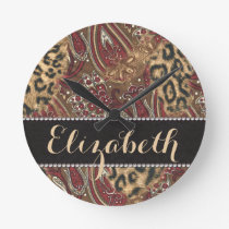 Leopard and Paisley Pattern Print to Personalize Round Clock
