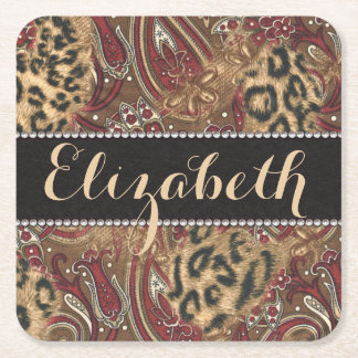 Leopard and Paisley Pattern Print to Personalize Square Paper Coaster