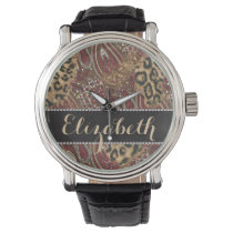 Leopard and Paisley Pattern Print to Personalize Wrist Watch