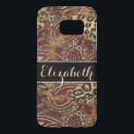 "Leopard and Paisley Print Personalized Samsung Galaxy S7 Case<br><div class=""desc"">A Paisley pattern with leopard spot skin pattern with a black leather banner surrounded by diamond rhinestones (faux) that you can customize and personalize. Just change the name Elizabeth to any name you choose.  Pattern colors range in black,  brown,  maroon,  red.</div>"