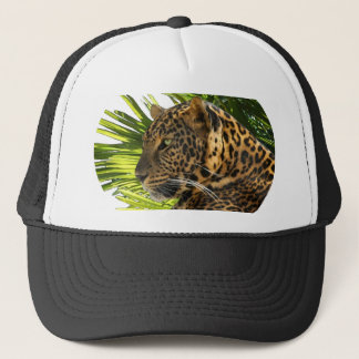 LEOPARD AND PALMS TRUCKER HAT