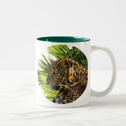 LEOPARD AND PALMS Two-Tone COFFEE MUG