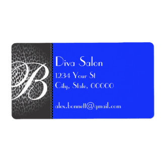 Leopard and Royal Blue Monogram Address Labels