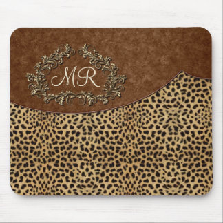 Leopard and Swirls Mouse Pad
