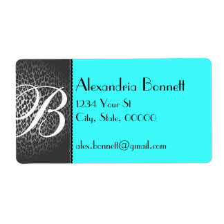 Leopard and Teal Blue Monogram Address Labels