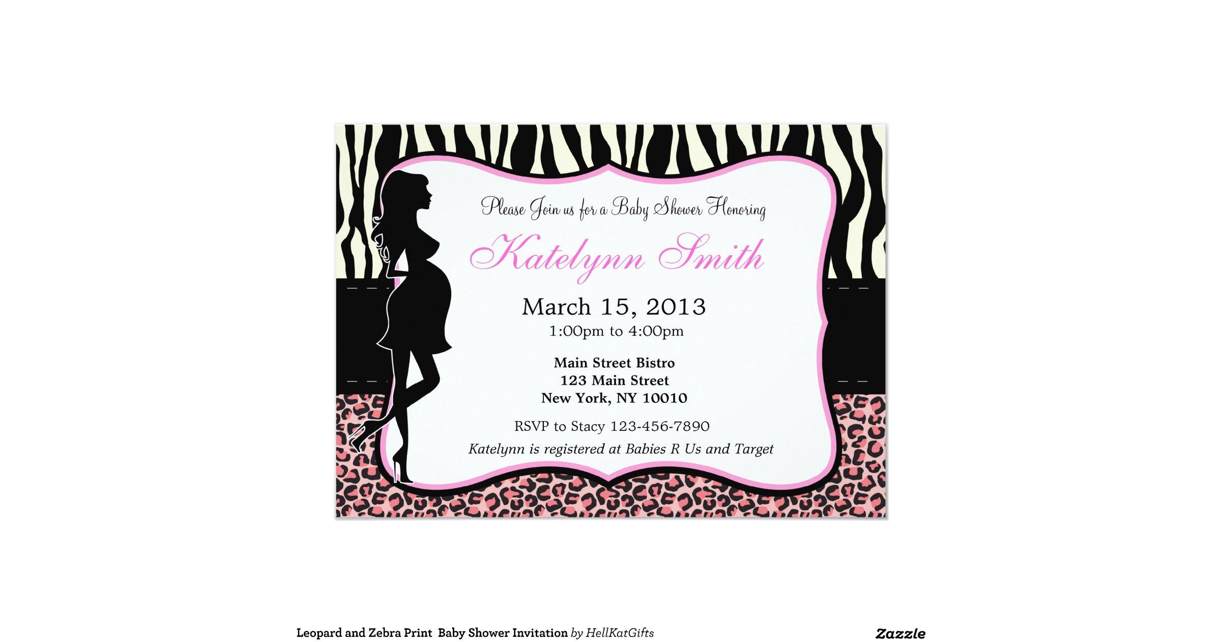 leopard and zebra print baby shower invitation