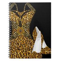 Leopard Animal High heel Shoes Dress Notebook
