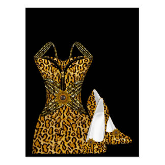 Leopard Animal High heel Shoes Dress Postcard
