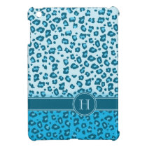 Leopard animal print blue monogram ipad mini case