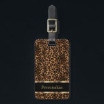 """Leopard Animal Print   DIY Text Bag Tag<br><div class=""""desc"""">Luggage Tags. Featured in a leopard print with gold accents - Made with high resolution vector graphics for a professional print. 100% Customize-able. Ready to fill in the box(es) or Click on the CUSTOMIZE IT button to change, move, delete, re-size any of the graphics or add your own text, font...</div>"""