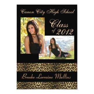"Leopard animal print graduation announcement 5"" x 7"" invitation card"