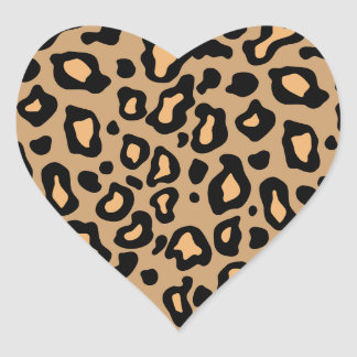 Leopard Animal Print Heart Stickers