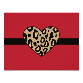 "Leopard Animal Print Invitations 4.25"" X 5.5"" Invitation Card"