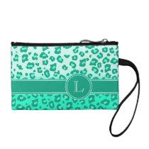 Leopard animal print mint monogram clutch bag