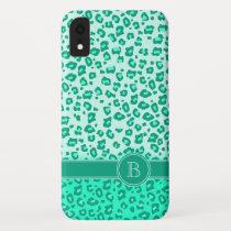 Leopard animal print mint monogram ipod touch case