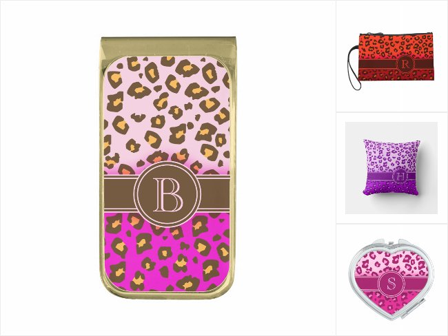 Accessories to complement your fun sense of fashion, personalized with your initials and all featuring colorful leopard-print designs