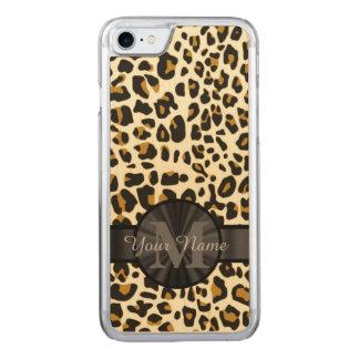 Leopard animal print monogrammed carved iPhone 8/7 case