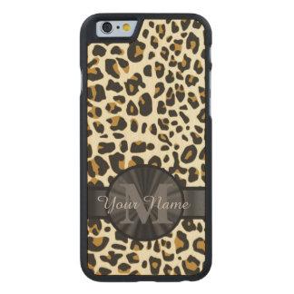 Leopard animal print monogrammed carved maple iPhone 6 slim case