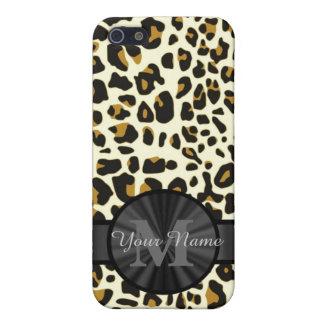 Leopard animal print monogrammed case for iPhone SE/5/5s