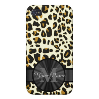 Leopard animal print monogrammed cover for iPhone 4