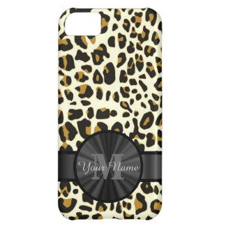 Leopard animal print monogrammed iPhone 5C case