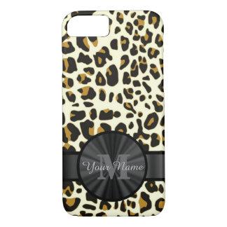Leopard animal print monogrammed iPhone 8/7 case