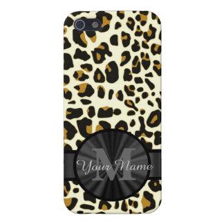 Leopard animal print monogrammed iPhone SE/5/5s case