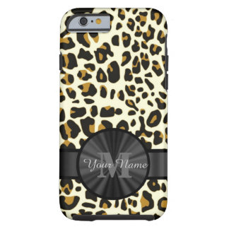 Leopard animal print monogrammed tough iPhone 6 case