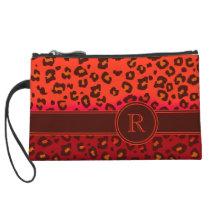 Leopard animal print orange monogram clutch bag