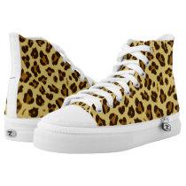 Leopard Animal Print Pattern High Top Sneakers