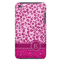 Leopard animal print pink monogram ipod touch case